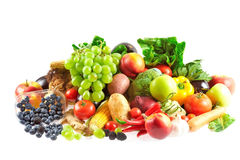 Mix of fruits and vegetables. Variety of fresh and colorful fruit and vegetables Stock Photos