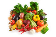 Mix of fruits and vegetables. Variety of fresh and colorful fruit and vegetables Royalty Free Stock Photography