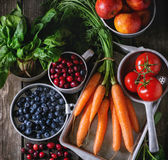 Mix of fruits, vegetables and berries Stock Photography