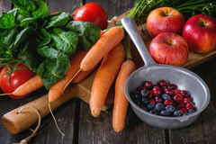 Mix of fruits, vegetables and berries Stock Images