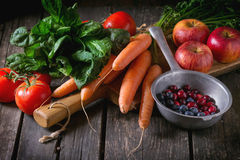 Mix of fruits, vegetables and berries Stock Photos