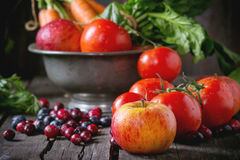 Mix of fruits, vegetables and berries Royalty Free Stock Photos