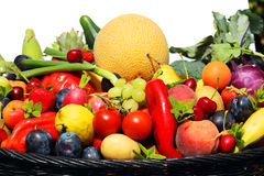 Mix of fruits and vegetables on white background royalty free stock images