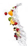 Mix of fruits with water splashes on white Stock Photo