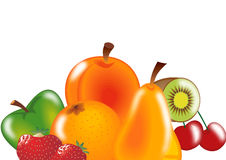 mix fruits on white Stock Images