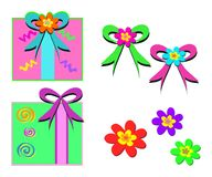 Mix of Gifts, Bows, and Flowers Royalty Free Stock Photos