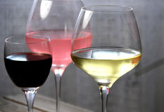 Mix glasses of red, rose and white wine Royalty Free Stock Image