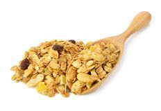 Mix granola cereals on white Stock Image