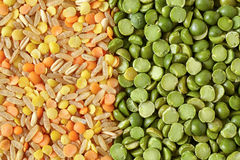 Mix Of Green Split Peas Lentils And Rice Stock Image