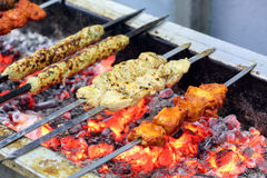 Mix grill on charcoal flame Royalty Free Stock Image