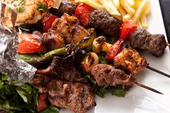 Mix grilled. Grilled mix meat with vegetable and French fries stock image