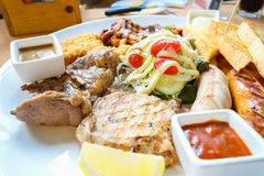 Mix Grilled on the plate in restaurant Royalty Free Stock Photo