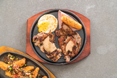 Mix grilled steak. On hot plate Royalty Free Stock Image