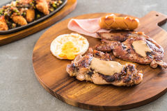 Mix grilled steak. On wood plate Stock Photos