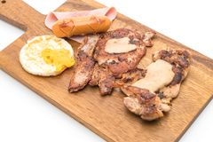 Mix grilled steak on wood plate Stock Photos