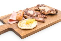 Mix grilled steak on wood plate Stock Photography