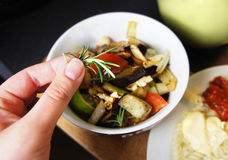 Mix of grilled vegetables on the plate Royalty Free Stock Photos