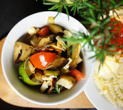 Mix of grilled vegetables on the plate Royalty Free Stock Images