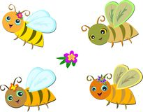 Mix Group of Cute Bees Royalty Free Stock Images