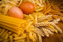 Mix group of italian pasta Royalty Free Stock Images
