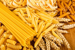 Mix group of italian pasta Royalty Free Stock Image