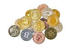 A mix group of physical cryptocurrency, Bitcoin, Ethereum, Litecoin, Dash stack on white background, Isolated with clipping path,. A pile of physical royalty free stock photos