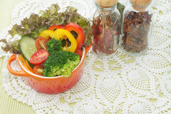 Mix healthy salad and spices Royalty Free Stock Images