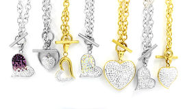Mix Heart stainless steel with crystals Royalty Free Stock Images