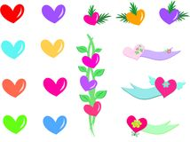 Mix of Hearts, Banners, and Plants Stock Photo