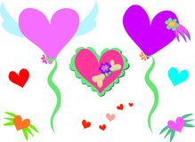 Mix of Hearts, Bones, and Flowers Stock Image