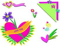 Mix of Hearts and Flowers Royalty Free Stock Photo