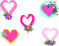 Mix of Hearts and Plants Royalty Free Stock Photos