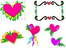 Mix of Hearts and Plants Stock Photos