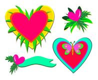 Mix of Hearts, Plants, and Butterfly Royalty Free Stock Photos