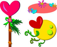Mix of Hearts and Plants Pictures Stock Image
