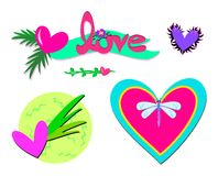 Mix of Hearts, Text, and Dragonfly Stock Photo