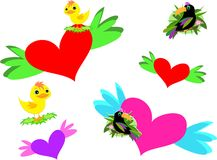 Mix of Hearts, Wings, and Birds Royalty Free Stock Photo