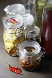Mix of homemade canned delicious food Royalty Free Stock Images