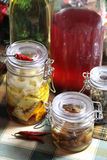 Mix of homemade canned delicious food Royalty Free Stock Photography