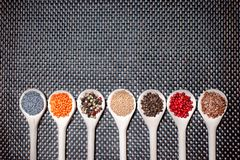 Mix of hot and colorful spices with poppy seeds, pepper Stock Photos
