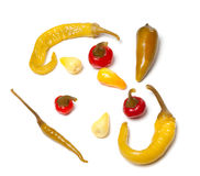 Mix of hot marinated turkish peppers on white Stock Images