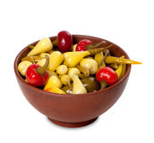 Mix of hot turkish marinated peppers in ceramic bowl Royalty Free Stock Photos