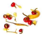 Mix of hot turkish marinated peppers Stock Photography