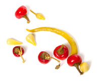 Mix of hot turkish marinated peppers Stock Image