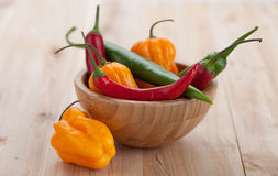 Mix of hottest peppers in wooden plate on table. Royalty Free Stock Photo