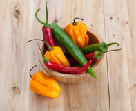 Mix of hottest peppers in wooden plate on table. Royalty Free Stock Images