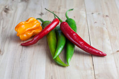Mix of hottest peppers on wooden table. Stock Image
