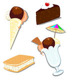 Mix ice cream and cake. This vector illustration shows a cup ice cream, a cone for a walk, an ice cream with biscuit and a slice of cake Stock Images
