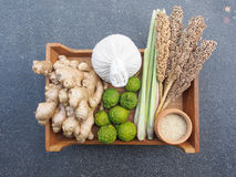 Mix ingredient of Thai herb for spa and massage Stock Photography