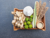 Mix ingredient of Thai herb for spa and massage Royalty Free Stock Photography